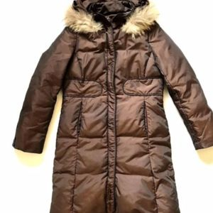 Via Spiga Puffer Jacket Coat Small Brown Hooded